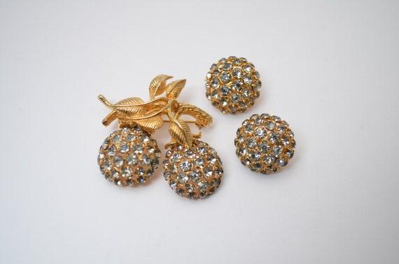 Winter cherry berry brooch earrings set, Castlecli