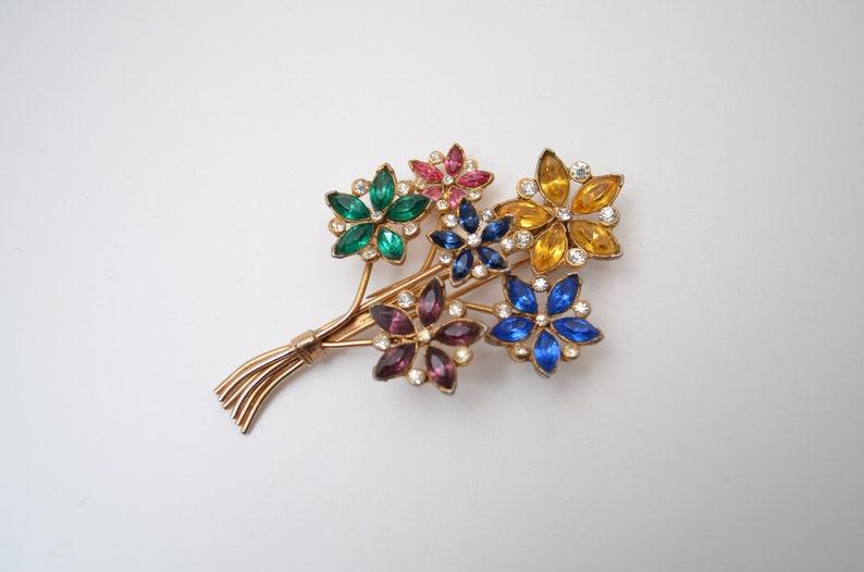 sapphire emerald topaz citrine multicolor Marquise Cut Rhinestones Bouquet flowers Fur Clip brooch pin 1940s