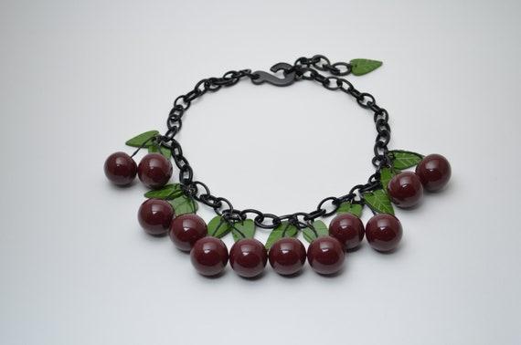 Women necklace jewelry gift, sweet cherry fruit