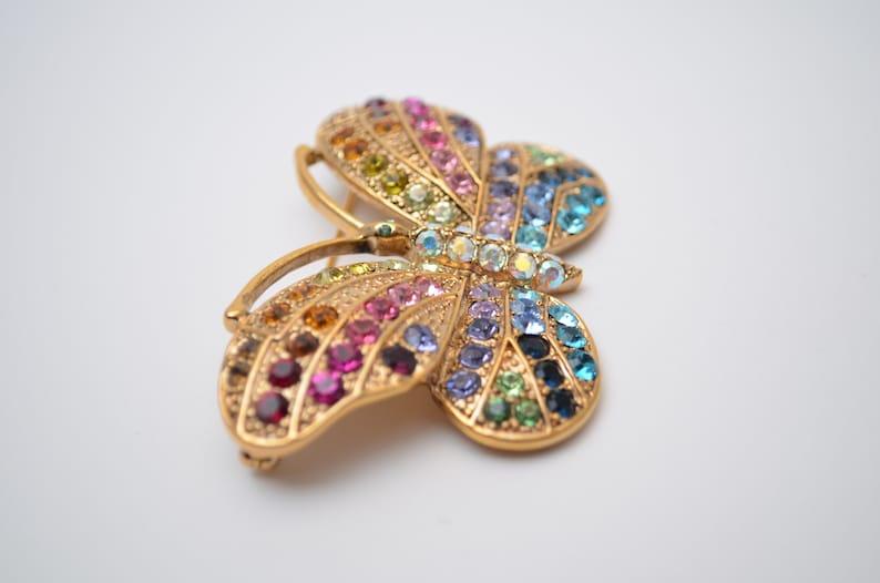 Kirks Folly Vintage jewelry Rainbow multicolor Butterfly pin brooch