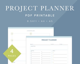 Project Planner Printable - INSTANT DOWNLOAD - Printable PDF - 4 Pages // Sizes: 8.5x11, A4, A5 //Project organizer and tracker