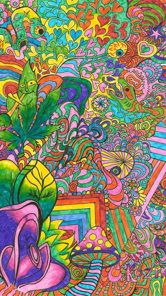 Psychedelic Poster Art Mushroom Poster Print Trippy Art | Etsy