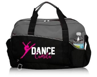 Personalized Dance Bag, Dance Bag, Custom Duffle Bag, Gray Duffle Bag, Black Duffle Bag, Dancer Gift, Sports Bag, Dancer Coach Gift