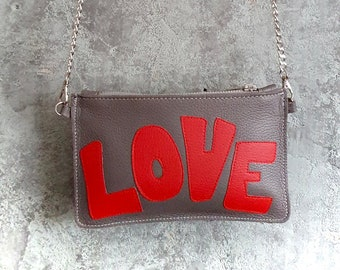 small shoulder bag made of leather, evening bag, leather bag, light gray with red application, unique, unique piece