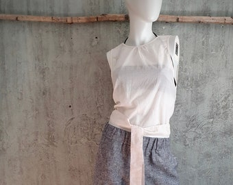 sleeveless, thin cotton blouse with deep back neckline, cream white, cotton top for tying, summer top for women, ecru