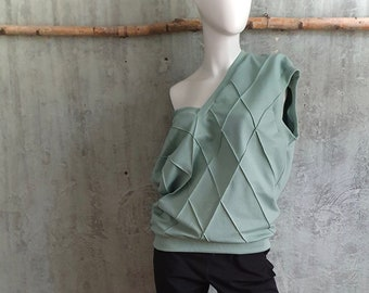 sleeveless oversize sweatshirt with ribbed cuffs and V-neck, mint green, pistachio, cozy sweater