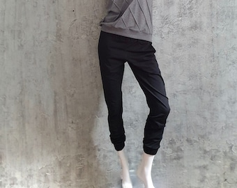narrow sweatpants made of organic cotton, casual jersey trousers for women, jogger black, size M, Available for immediate shipping