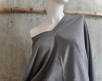 grey oversize sweater in French Terry, with v-neck, cozy sweatshirt