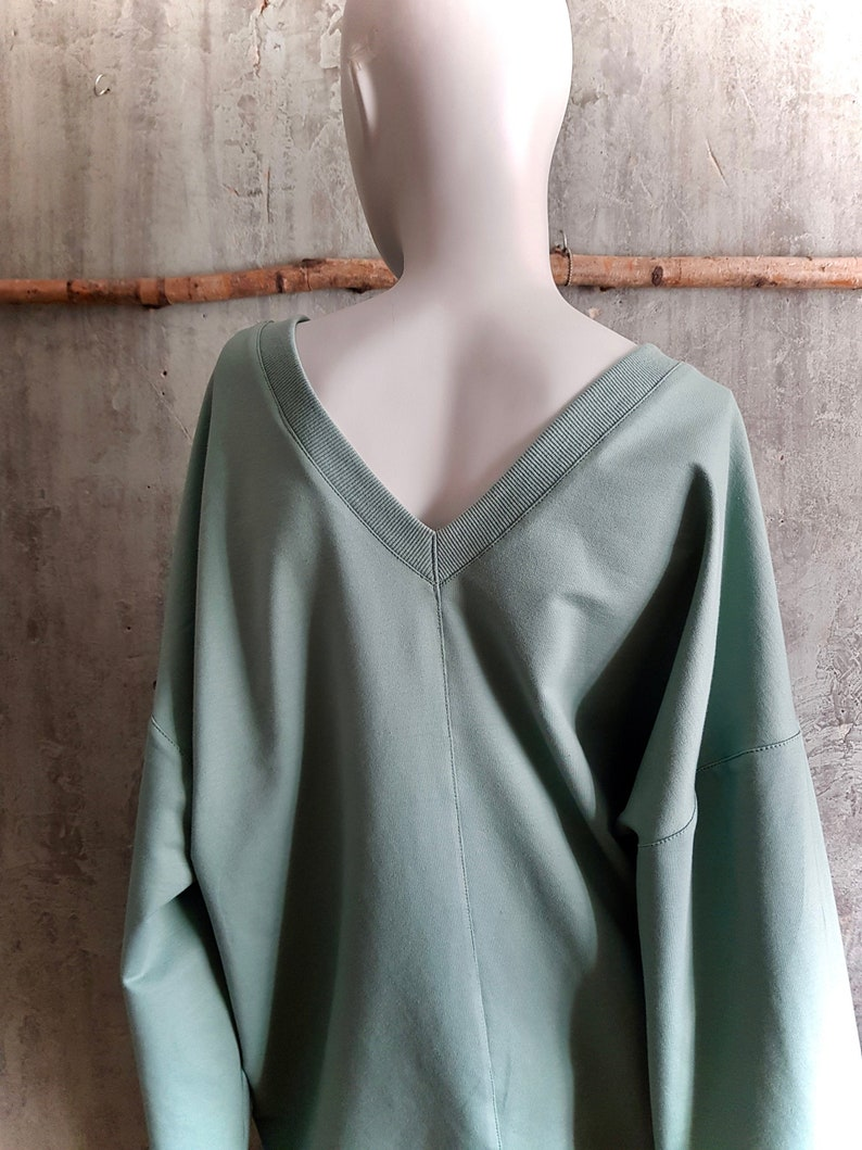 cozy oversize sweater in grey green mint green sweatshirt image 0