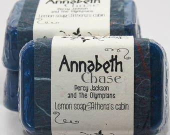 Annabeth Chase Glycerin Soap Bar - Percy Jackson series by Rick Riordan - Handmade Custom Book Character Scent - Shimmery Navy Blue