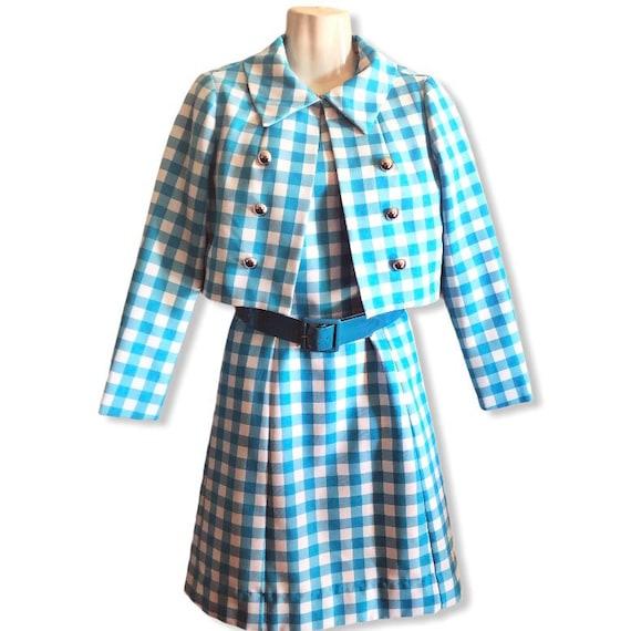 Vintage 50s Blue Gingham Dress and Crop Jacket Ser