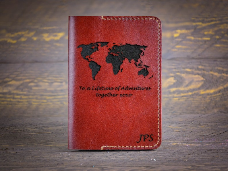 Personalize Leather Passport Holder World Map  3rd image 0