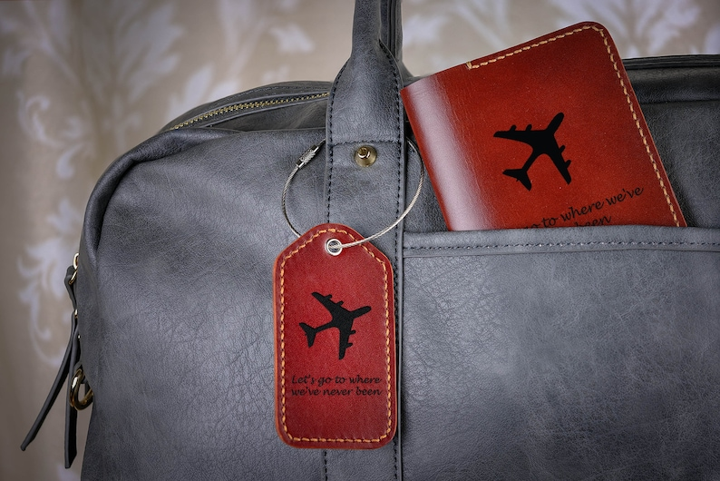 443745416eb96 Personalized Passport Holder Luggage Tag Set with Airplane