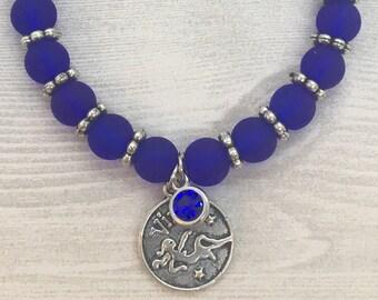 Astrological Sign - Virgo - Blue Beaded Stretch Bracelet