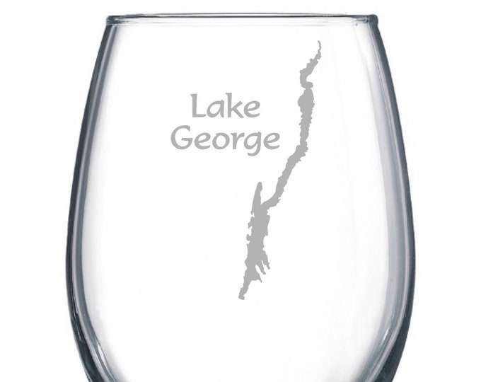 Lake George with Lake Outline - Etched 15 oz Stemless Wine Glass