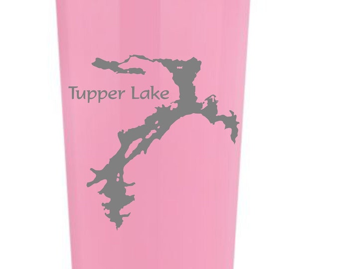 Tupper Lake laser etched on a 22 oz insulated tumbler