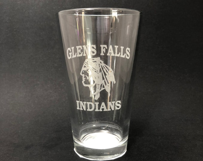 Glens Falls Indians - Etched Pint Glass