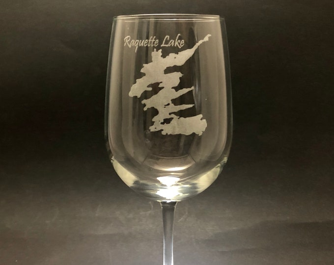 Raquette Lake  - Etched 18.5 oz Stemmed Wine Glass