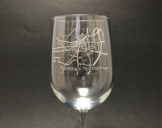 Saratoga Springs Street Map - Etched 18.5 oz Stemmed Wine Glass