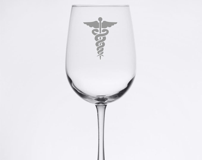 Nursing - rod of Asclepius - Etched 18.5 oz Stemmed Wine Glass