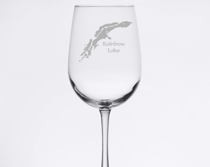 Rainbow Lake - Etched 18.5 oz Stemmed Wine Glass