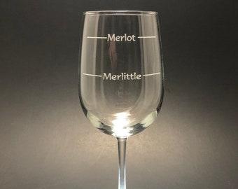 Merlot Merlittle lines - Etched 18.5 oz Stemmed Wine Glass