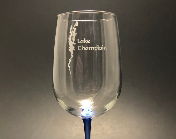 Lake Champlain - Etched 18.5 oz Blue Stemmed Wine Glass