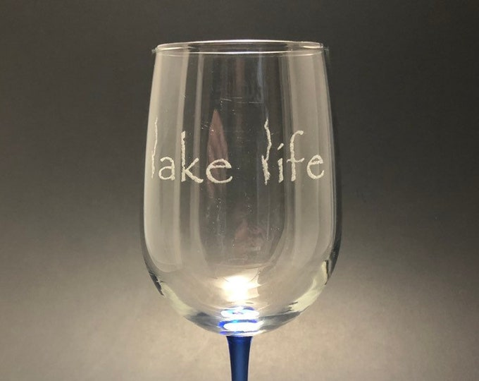 Lake George Lake Life - LAST CHANCE - Etched 18.5 oz Blue Stemmed Wine Glass