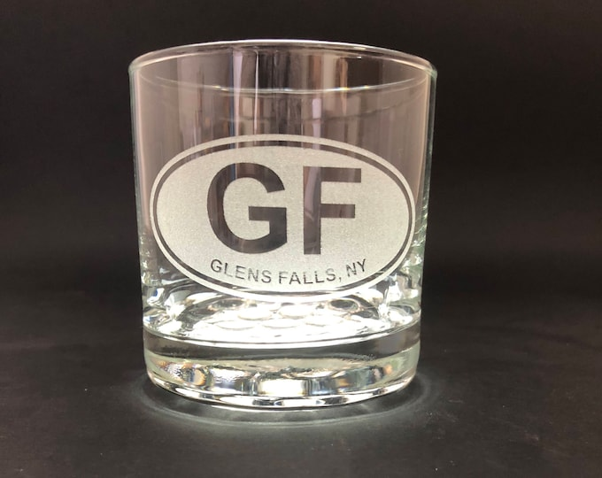 Glens Falls Etched Euro Sticker Style - 10.25 oz Rocks Glass - Glens Falls New York