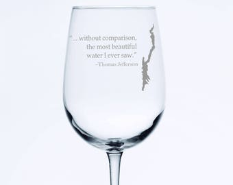 Lake George With Thomas Jefferson quote  - Etched 18.5 oz Stemmed Wine Glass