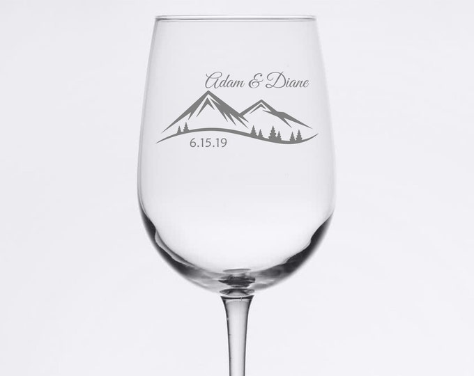 Custom Wedding Set of 2 - Mountain Scene - Etched 18.5 oz Stemmed Wine Glass