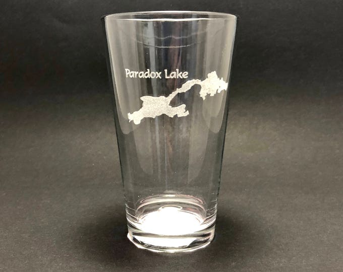 Paradox Lake - Etched Pint Glass - Paradox Lake, New York