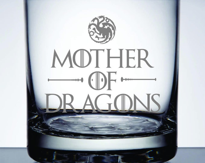 Mother of Dragons - Etched 10.25 oz Rocks Glass - Game of Thrones