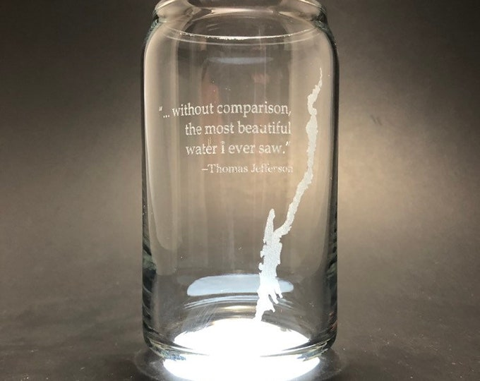 Featured listing image: Lake George with Thomas Jefferson quote - Laser etched 16 oz Can Glass
