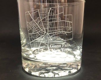 Glens Falls Street Map - 10.25 oz Rocks Glass - Glens Falls, New York
