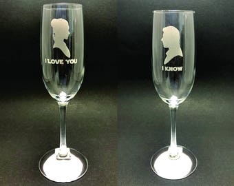 I Love You/I Know - Star Wars - 8 oz Champagne Flute set