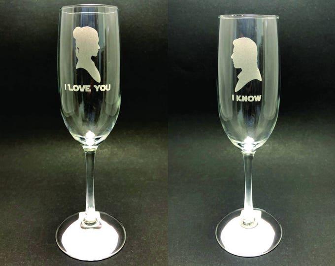 I Love You/I Know - Star Wars - 8 oz Champagne Flute set