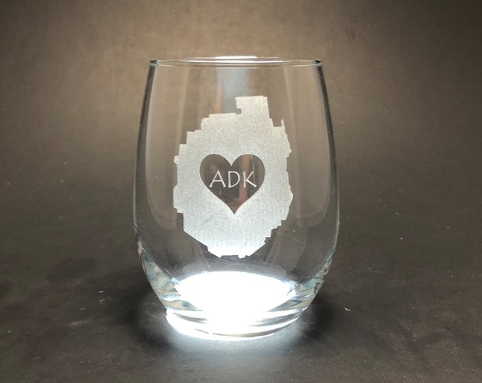 Adirondack Park with heart - Etched 15 oz Stemless Glass
