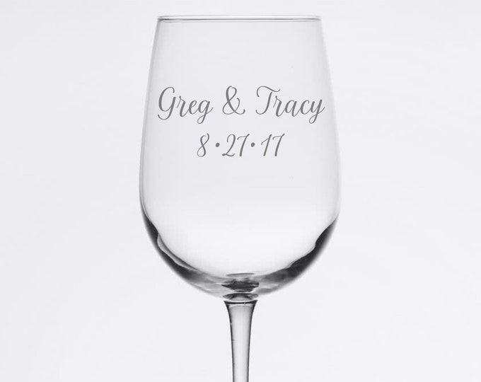 Custom Wedding Set - Simple and Elegant - Etched 18.5 oz Stemmed Wine Glass