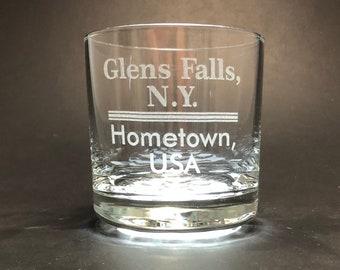 Glens Falls NY Hometown USA  - 10.25 oz Rocks Glass - Glens Falls New York