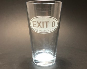Cape May Exit 0 Euro Oval - Etched Pint Glass