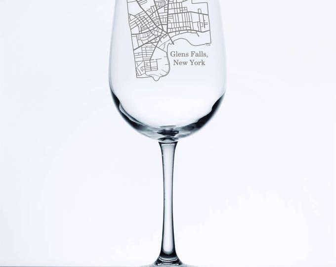 Glens Falls Street Map - Etched 18.5 oz Stemmed Wine Glass
