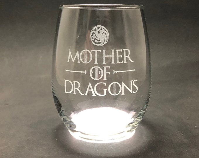 Mother of Dragons - Etched 15 oz Stemless Wine Glass - Game of Thrones