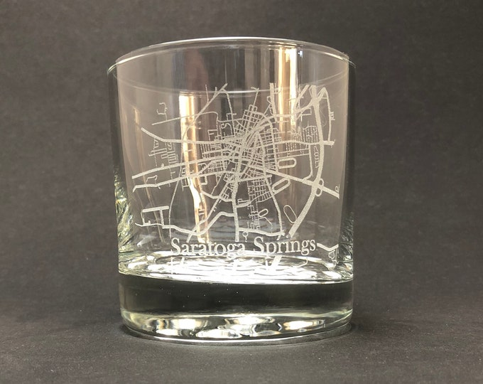 Saratoga Springs Street Map - 10.25 oz Rocks Glass - Saratoga New York
