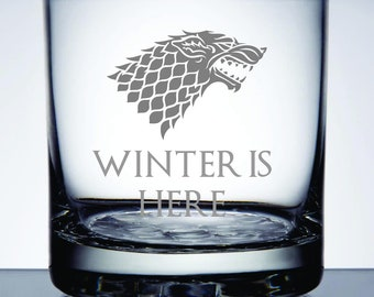 Winter Is Here - Etched 10.25 oz Rocks Glass - Game of Thrones
