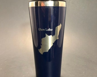 Glen Lake laser etched on a 22 oz insulated tumbler