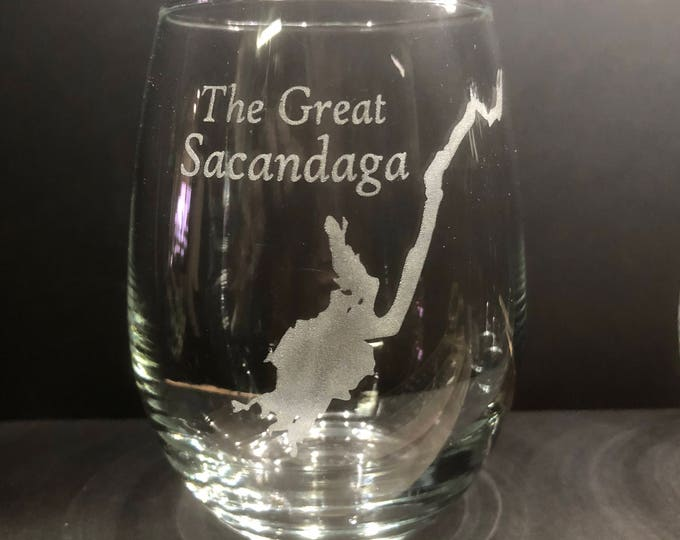 The Great Sacandaga - Etched 15 oz Stemless Wine Glass