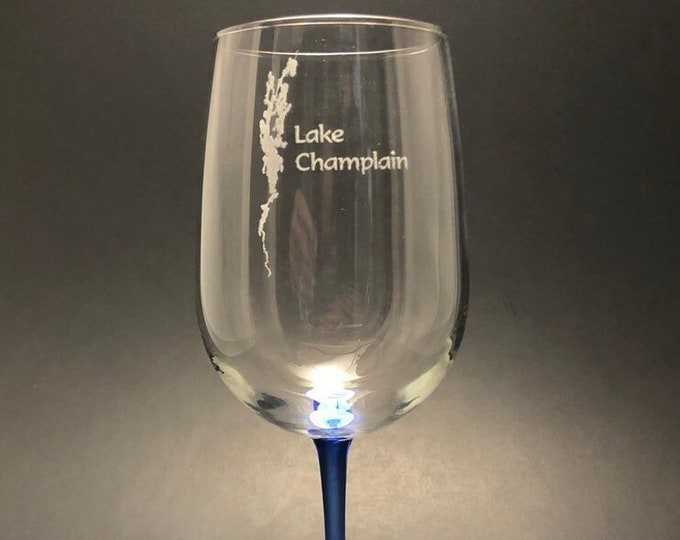 Lake Champlain - Etched 18.5 oz Blue Stemmed Wine Glass