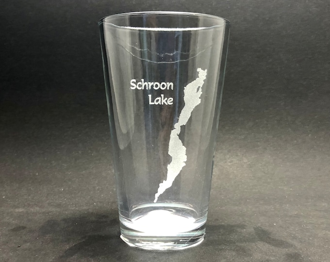 Schroon Lake - Etched Pint Glass - Schroon Lake, New York