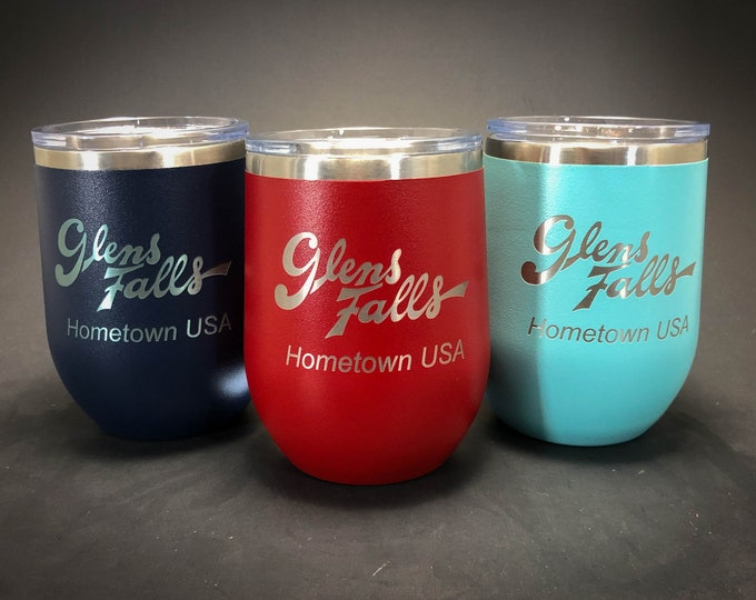 Glens Falls Hometown USA - FREE SHIPPING  - 12 oz Polar Stemless Wine